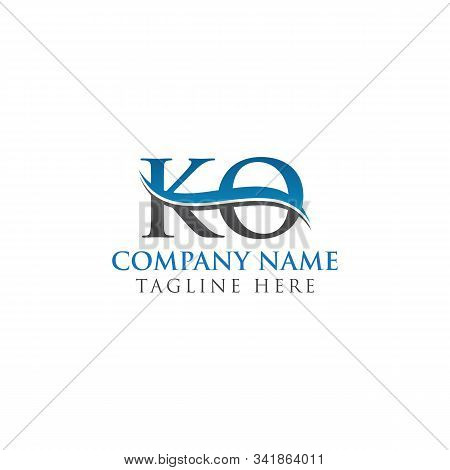 Initial Ko Letter Logo Design Vector Template. Abstract Letter Ko Logo Design