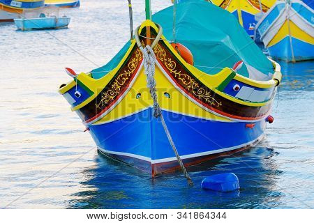 Detail View Of The Colorful Boat Luzzi With Eye Of Osiris - The Symol Of Malta In Marsaxlokk.