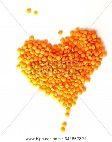 Red Lentils On White Background. Different Forms Of Dry Lentils. Lentils Red In A Transparent Glass