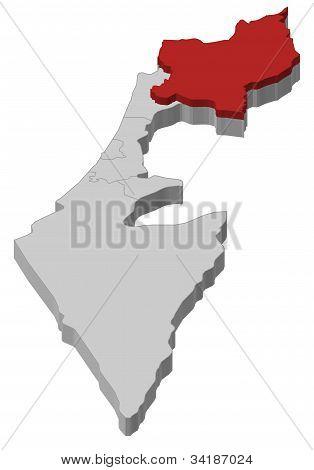 Karta över Israel, norra distriktet belyst