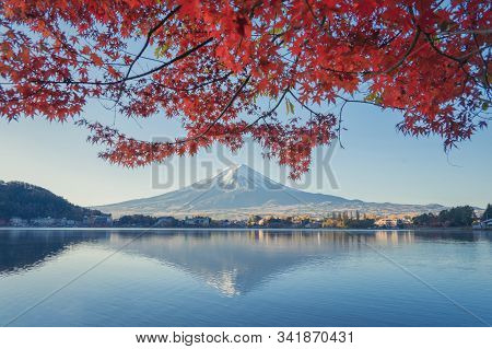 Mountain Fuji With Red Maple Leaves Or Fall Foliage In Colorful Autumn Season Near Fujikawaguchiko,