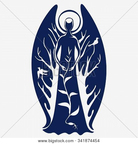 An Angel With A Halo And Wings Guards The Sprouted Grain. Silhouette On A White Background, Logo.vec