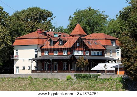 Newly Built Castle Looking Mostly Wooden Local Hotel Built In Traditional Style With Large Front Por