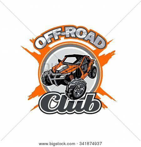 Off-road Utv Club Logo With Orange Buggy In Center.