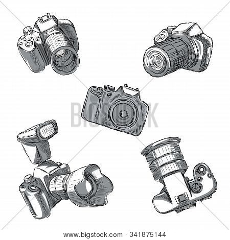A Set Of Slr Cameras In Different Positions Are Drawn By Hand.
