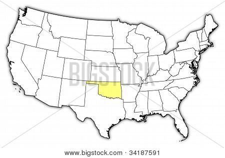 Map Of The United States, Oklahoma Highlighted
