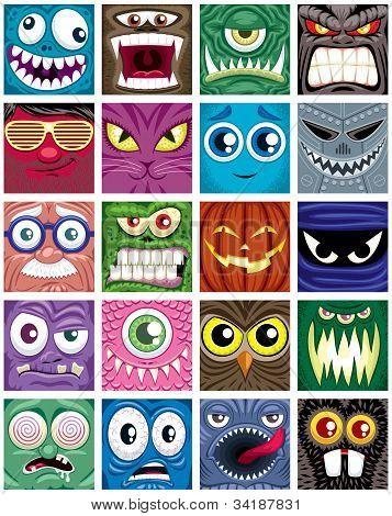 Set of 20 square avatars. Good for social media profile avatars. poster