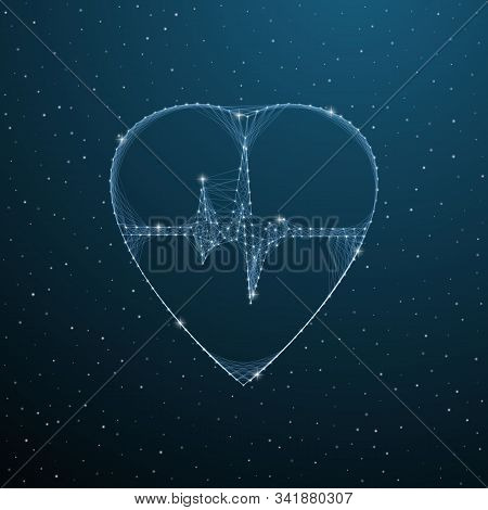 Heartbeat Medical Polygonal Symbol. Low Poly Heart Pulse Mesh Form With Lines, Dots And Triangles On