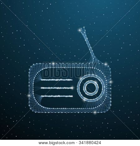 Polygonal Old Radio With Antenna On Blue Background. Low Poly Electronic Telecommunication Tuner. Ve