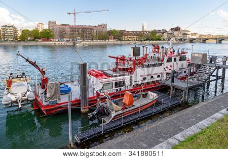 Basel, Switzerland - April 17, 2019. Fireboat Christophorus. The Ship Of Basel Fire Department At It