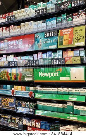 December 11, 2019 - New Castle, Delaware. Cigarette Store Display. Cigarettes On Sale Inside A Wawa