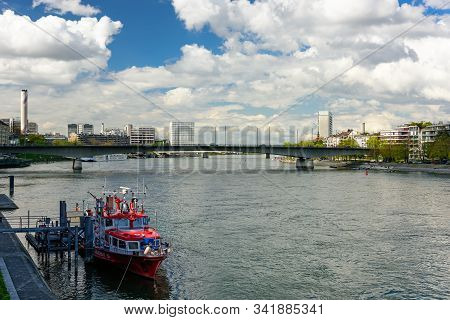 Basel, Switzerland - April 17, 2019. The Ship Of Basel Fire Department At Its Usual Mooring Area In