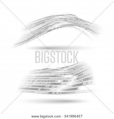 Binary Code Halftone Wavy Shapes Set. Abstract Technology Design Elments. Comunication Information A