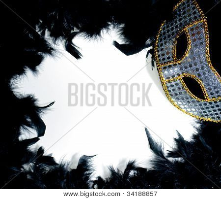 Mardi Gras Mask On Bed Of Feathers