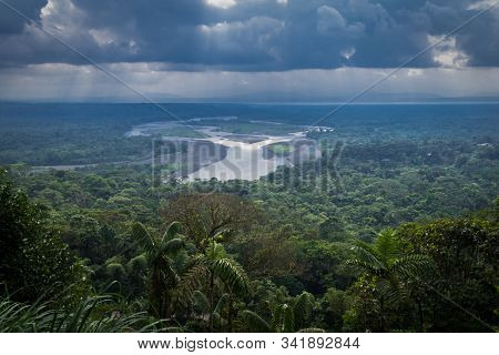 Amazonian Viewpoint Called Indichuris, Lanscape Located In Ecuador. The Confluence Of The Pastaza An