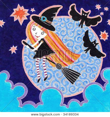 Halloween-Marker-Postkarte mit Hexe Mädchen