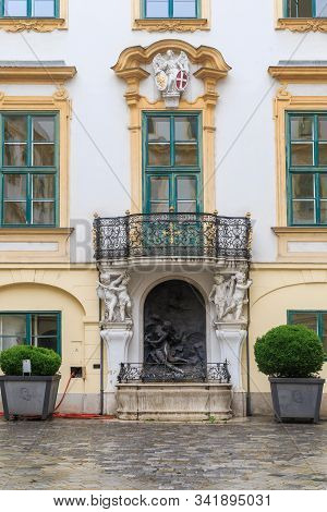 Vienna, Austria - May 22, 2019: This Is A Baroque Fountain In The Inner Courtyard Of The Old Town Ha