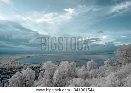 Aerial View Of Chumphon City In Provincial Of Thailand Taken From Mutsea View Point  In Infrared Pho