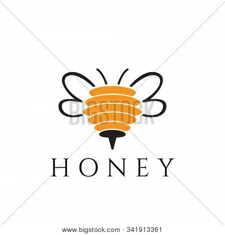 Honey Bee Wings Sting Abstract Logo Template