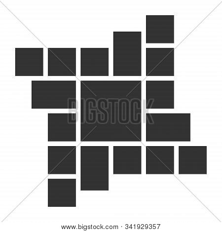 Empty Photo Collage Template Of 17 Parts. Vector Poster Frame Mockup. Photo Collage Layouts For Wall
