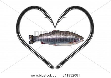 Fishing Hook Love Heart Sign With Trout Fish Isolated On A White Background. Fishing Hook Close Up.