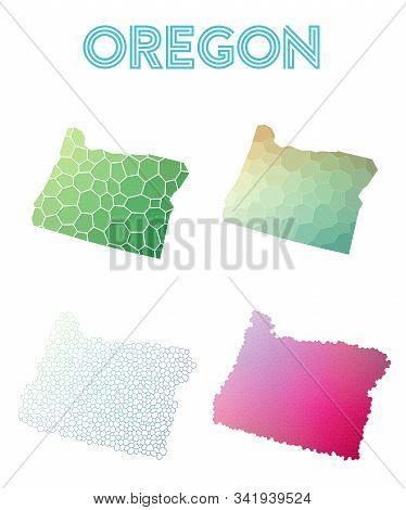 Oregon Geometric Polygonal, Mosaic Style Us State Maps Collection. Modern Design For Your Infographi