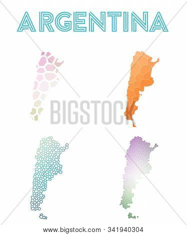 Argentina Geometric Polygonal, Mosaic Style Maps Collection. Modern Design For Your Infographics Or