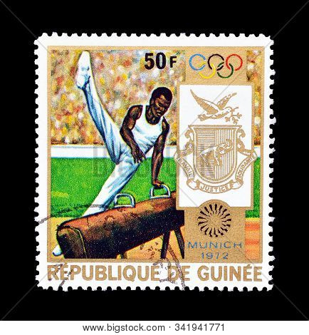 Cancelled Postage Stamp Printed By Guinea, That Promote Olympic Games In Munich In 1972, Circa 1972.