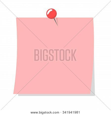 Colorful Pink Note Sheet. Vector Isolated Notepaper