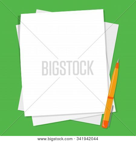 Pile Of Blank White Paper Sheet And Pen Vector Isolated.s