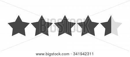 Star Rating Vector Isolated. Black Star Shape. Quality Of Service