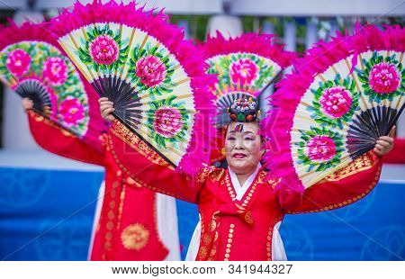 Andong , South Korea - Oct 02 : Korean Folk Dancers Perform At The Maskdance Festival  In Andong Sou