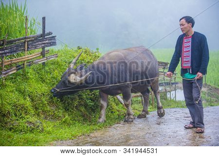 Ha Giang , Vietnam - Sep 14 : Man From The Red Dao Minority In A Village Near Ha Giang In Vietnam On