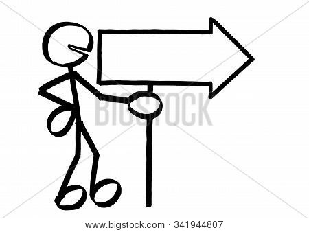 Drawing Of Standing Stick Figure Holding An Arrow Sign Empty For Copy Space Pointing To The Right. M