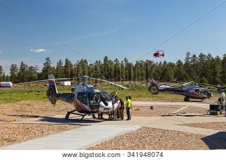 Tusayan, Grand Canyon, Usa- 31 May 2015: Maverick Helicopters On The Blacktop At The Grand Canyon Na