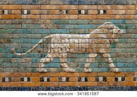 Walking Lion Relief On Glazed Ceramic Wall From Ancient Babylon