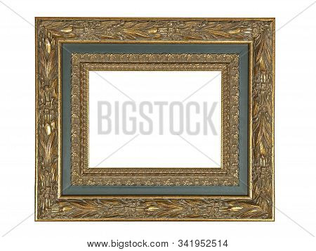 Empty Gray Wooden Frame For Paintings With Gold Patina. Isolated On White Background