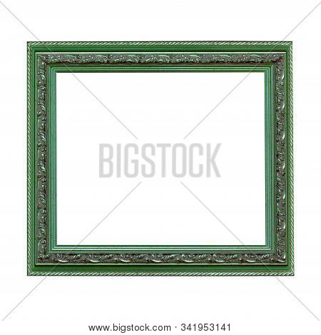 Empty Green Wooden Frame For Paintings Or Photo With Silver Patina. Isolated On White Background