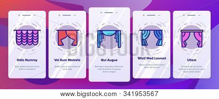 Curtain Onboarding Mobile App Page Screen Vector. Decoration Of Room And Theater Satin And Fabric Cu