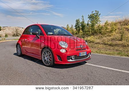 Brisighella, Ra, Italy - August 31, 2013: Abarth 695 Tributo Ferrari, A Small Sports Car Derived Fro