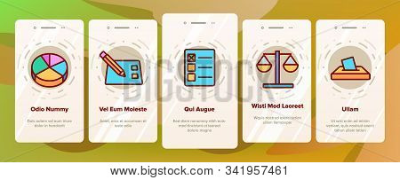 Voting And Elections Onboarding Mobile App Page Screen Vector. Including Ballot Voiting Box, Vote An
