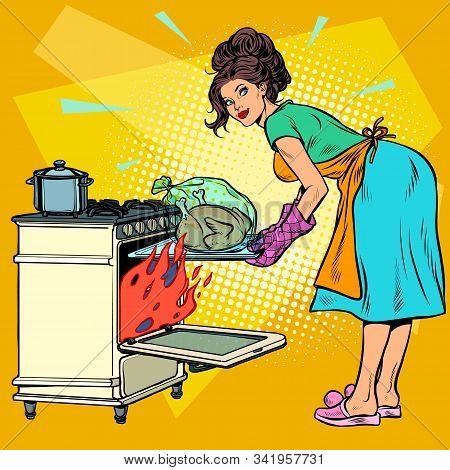 Woman Housewife Bakes Bird In The Oven. Pop Art Retro Vector Illustration Kitsch Vintage 50s 60s