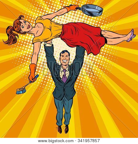 Husband Is A Businessman And Wife Is A Housewife. Gender Stereotypes. Pop Art Retro Vector Illustrat