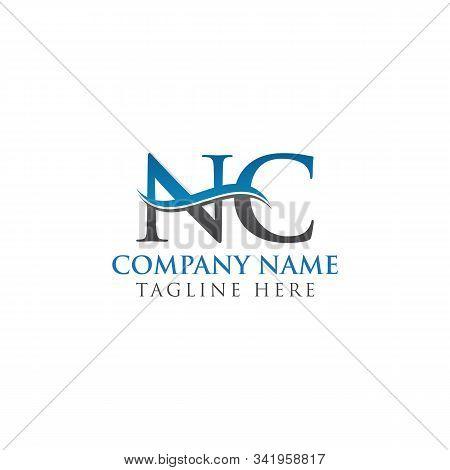 Swoosh Letter Nc Logo Design Vector Template. Water Wave Nc Logo Vector.