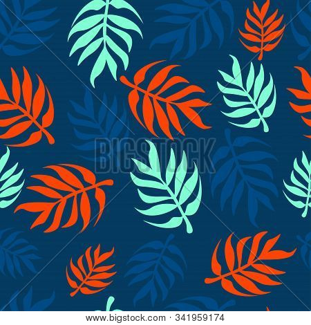Vector Seamless Pattern With Palm Leaves On A Dark Background. Lush Lava, Aqua-ment, Classic Blue Tr