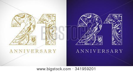 21 Years Old Logotype. 21 St Anniversary Numbers. Decorative Symbol. Age Congrats With Peacock Birds