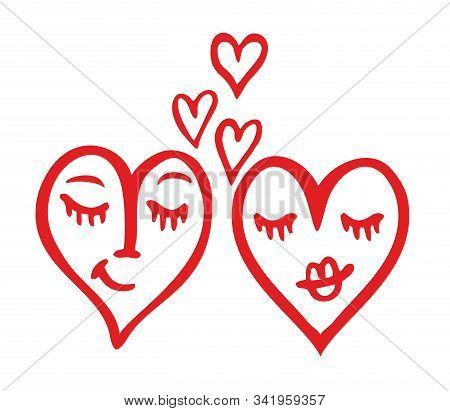 Two Hearts Vector. Love Icon, Symbol, Illustration Design. Couple At Valentines Day. Romantic Weddin