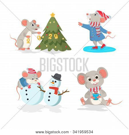 Christmas Vector Set With The Mouse. Ice Skating Mouse, Mouse With Christmas Tree, Mouse With Coffee