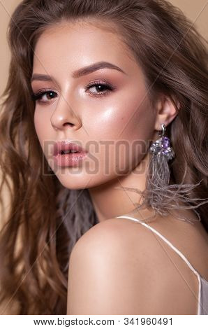 Photo Of A Beautiful Girl With Professional Delicate Brown Makeup And Natural Lips. Fashion Ostrich