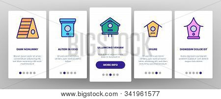 Bird House Onboarding Mobile App Page Screen Vector. Different Style Wooden Bird House, Shelter For